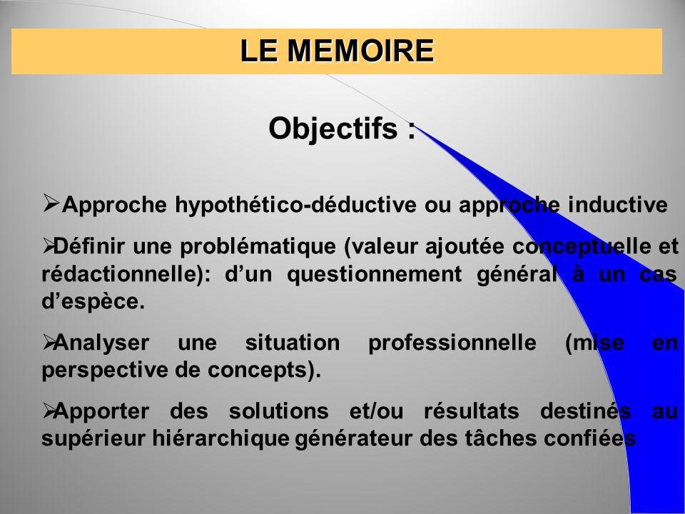 LE MEMOIRE Objectifs : Approche hypothético-déductive ou approche inductive Définir une problématique (valeur ajoutée conceptuelle et rédactionnelle):