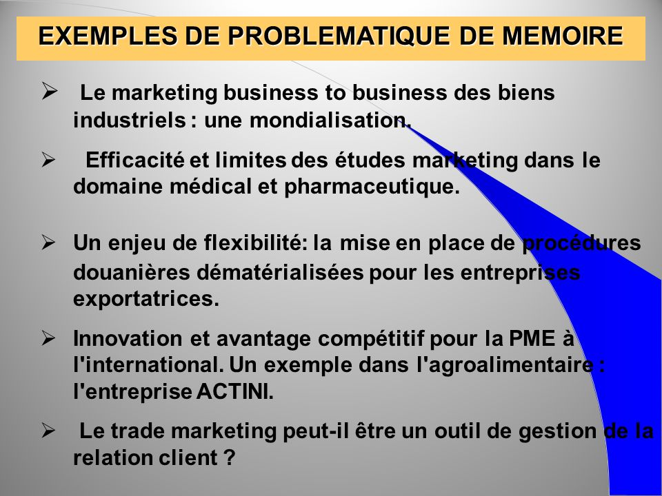 EXEMPLES DE PROBLEMATIQUE DE MEMOIRE Le marketing business to business des biens industriels : une mondialisation. Efficacité et limites des études ma