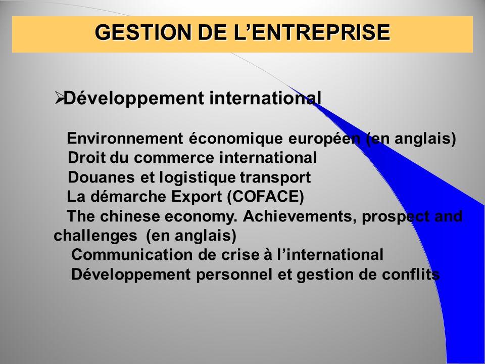 GESTION DE LENTREPRISE Développement international Environnement économique européen (en anglais) Droit du commerce international Douanes et logistiqu