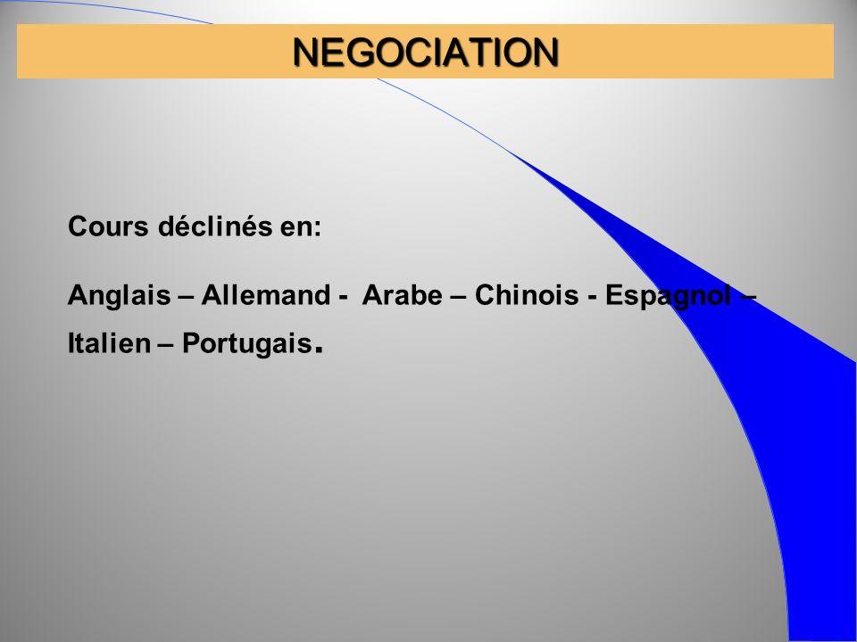 NEGOCIATION Cours déclinés en: Anglais – Allemand - Arabe – Chinois - Espagnol – Italien – Portugais.