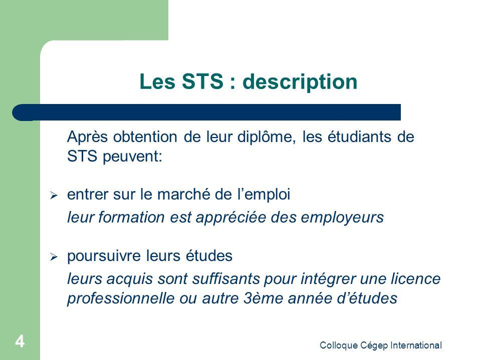 Colloque Cégep International 5 Les STS : leur place dans le schéma de lenseignement supérieur français et européen