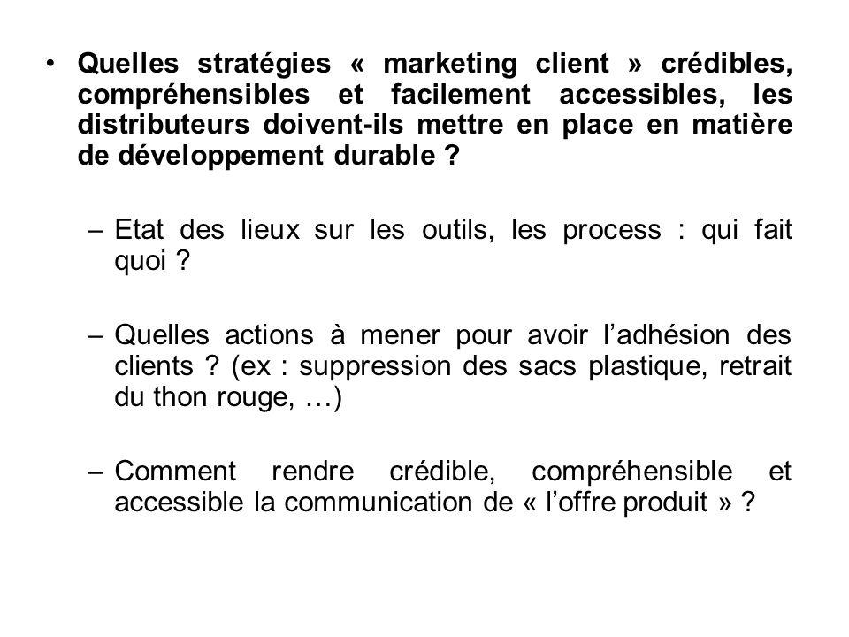 Quelles stratégies « marketing client » crédibles, compréhensibles et facilement accessibles, les distributeurs doivent-ils mettre en place en matière