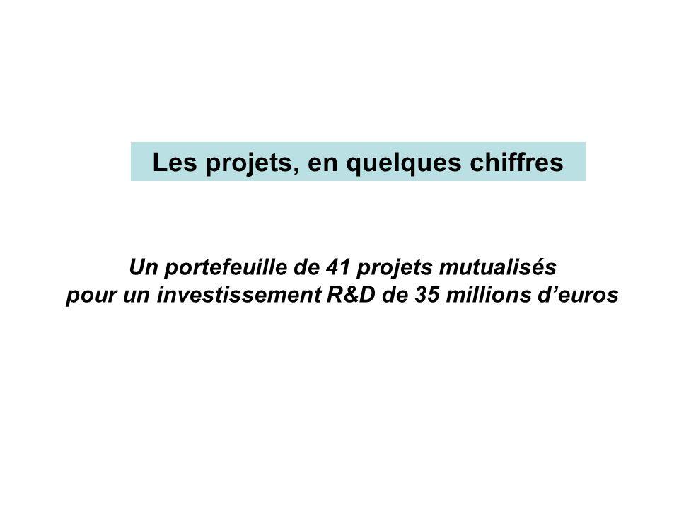 Les projets, en quelques chiffres Un portefeuille de 41 projets mutualisés pour un investissement R&D de 35 millions deuros