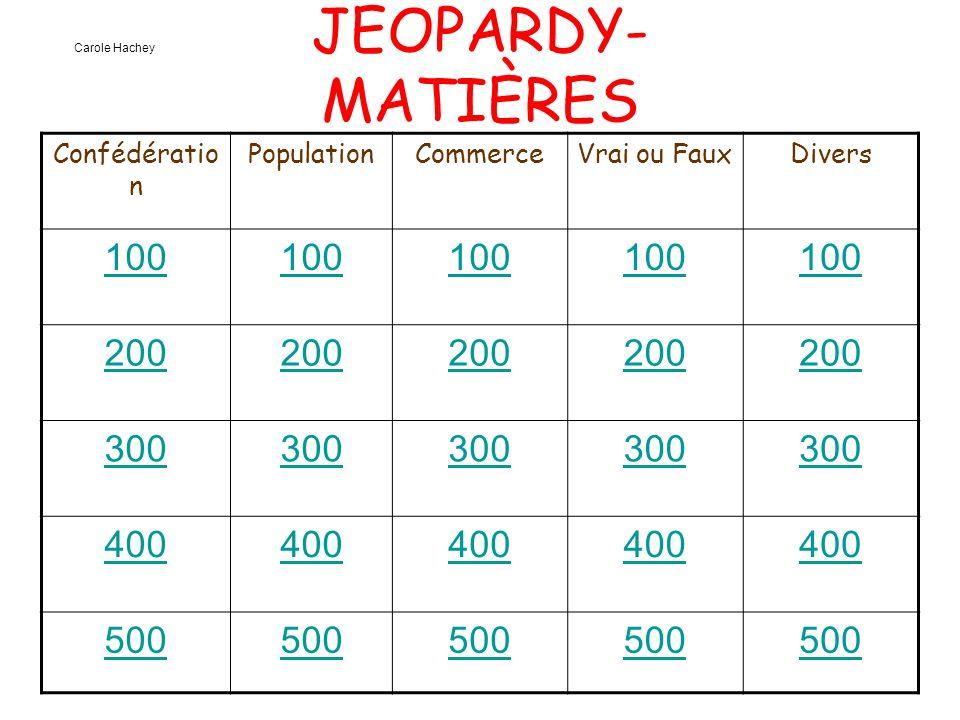 JEOPARDY- MATIÈRES Confédératio n PopulationCommerceVrai ou FauxDivers 100 200 300 400 500 Carole Hachey