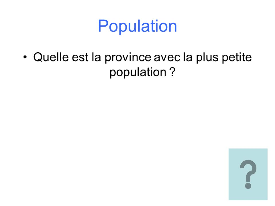 Population Quelle est la province avec la plus petite population ?