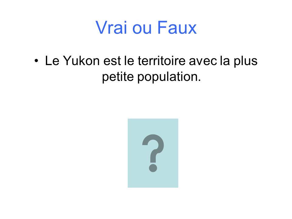 Vrai ou Faux Le Yukon est le territoire avec la plus petite population.