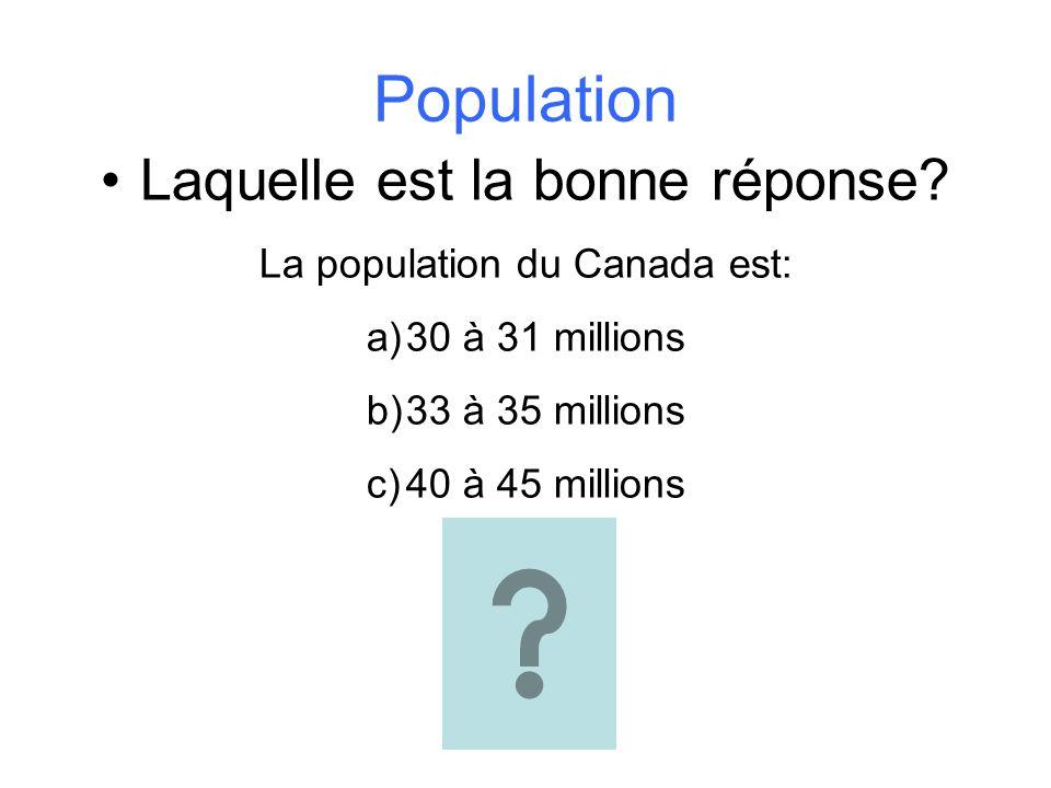 Population Laquelle est la bonne réponse? La population du Canada est: a)30 à 31 millions b)33 à 35 millions c)40 à 45 millions