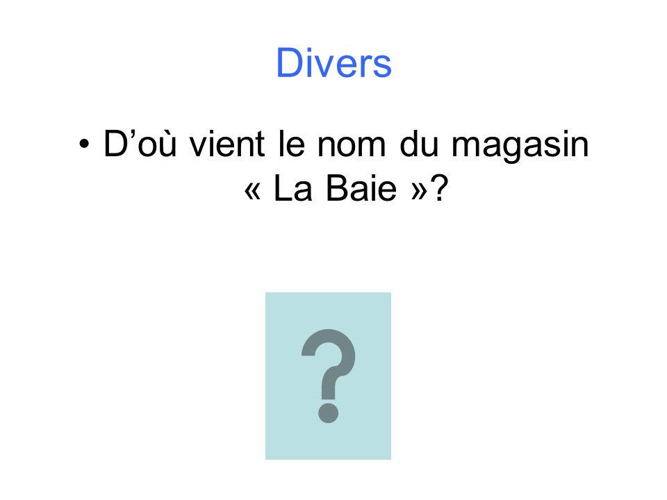 Divers Doù vient le nom du magasin « La Baie »?