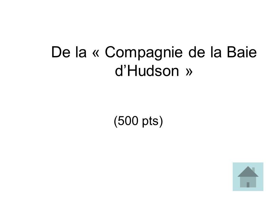 De la « Compagnie de la Baie dHudson » (500 pts)