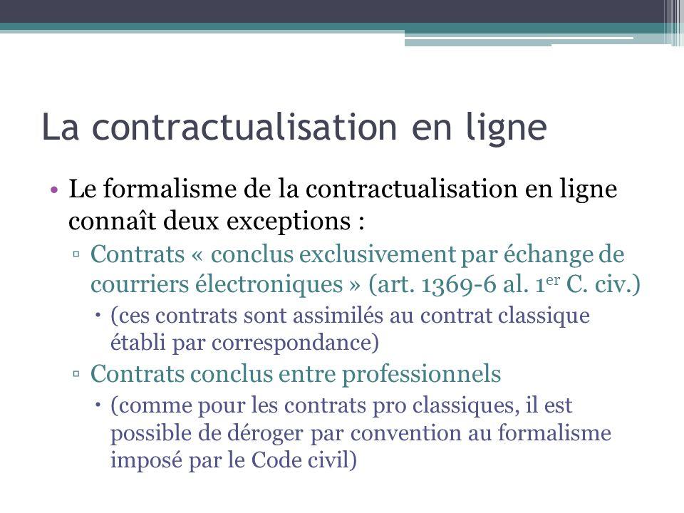 La contractualisation en ligne Le formalisme de la contractualisation en ligne connaît deux exceptions : Contrats « conclus exclusivement par échange