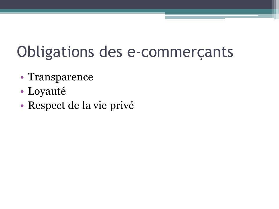 Obligations des e-commerçants Transparence Loyauté Respect de la vie privé