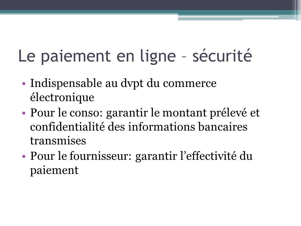 Le paiement en ligne – sécurité Indispensable au dvpt du commerce électronique Pour le conso: garantir le montant prélevé et confidentialité des infor