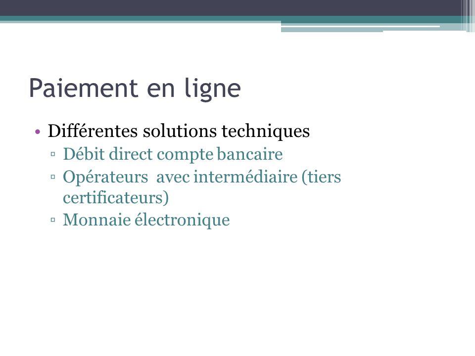 Paiement en ligne Différentes solutions techniques Débit direct compte bancaire Opérateurs avec intermédiaire (tiers certificateurs) Monnaie électroni