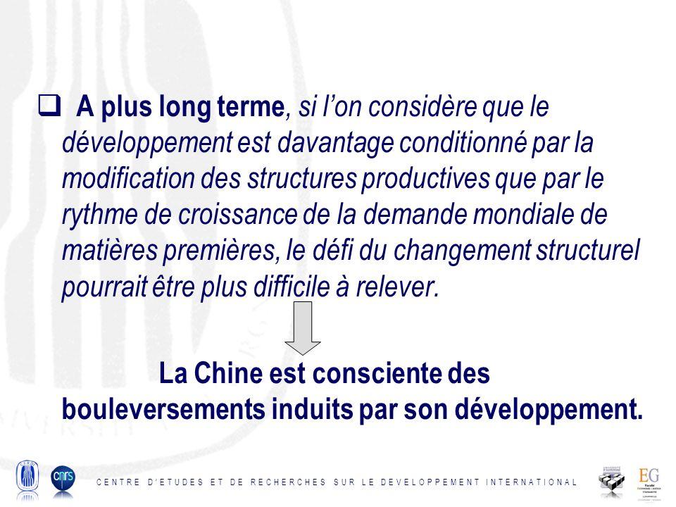 A plus long terme, si lon considère que le développement est davantage conditionné par la modification des structures productives que par le rythme de croissance de la demande mondiale de matières premières, le défi du changement structurel pourrait être plus difficile à relever.