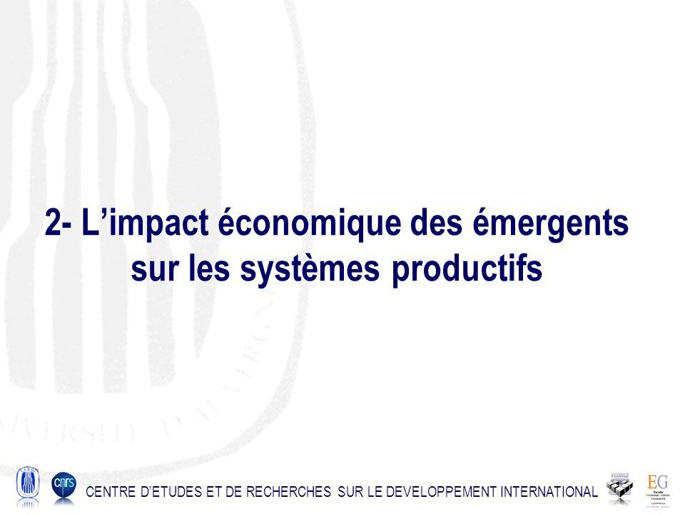 2- Limpact économique des émergents sur les systèmes productifs CENTRE DETUDES ET DE RECHERCHES SUR LE DEVELOPPEMENT INTERNATIONAL