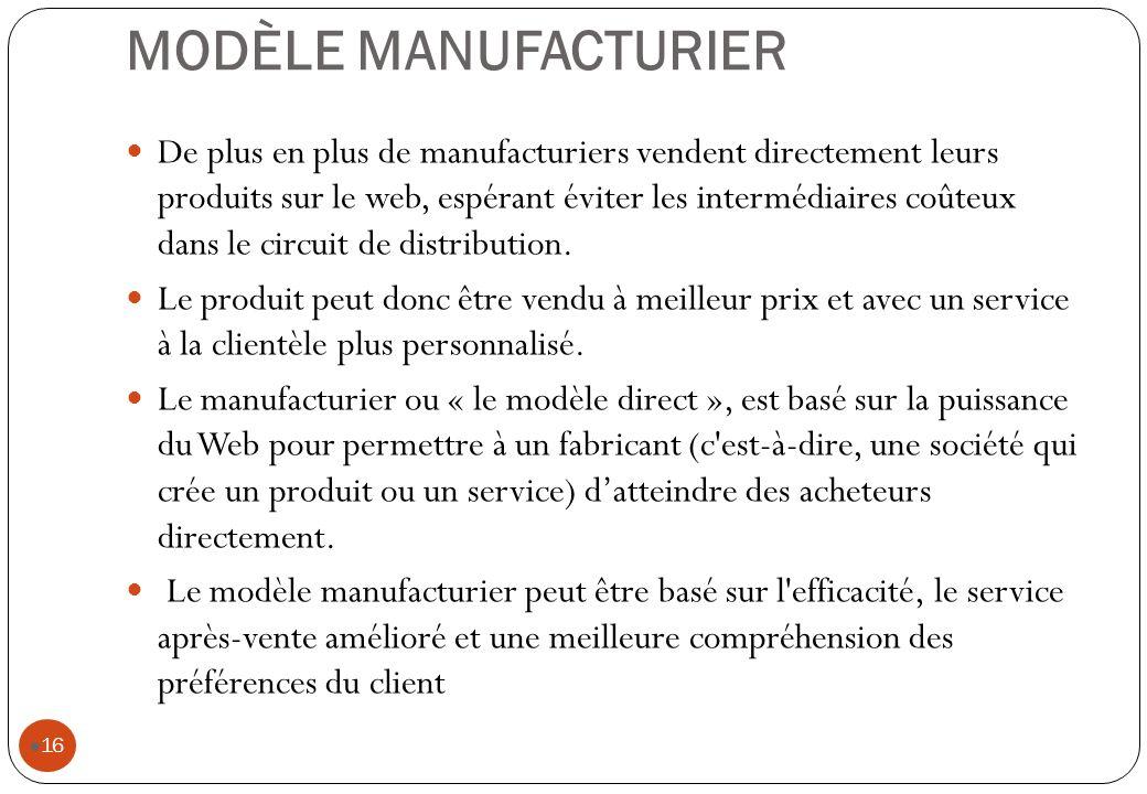MODÈLE MANUFACTURIER De plus en plus de manufacturiers vendent directement leurs produits sur le web, espérant éviter les intermédiaires coûteux dans le circuit de distribution.