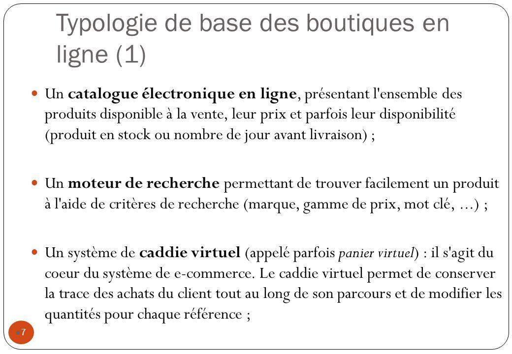Typologie de base des boutiques en ligne (1) 7 Un catalogue électronique en ligne, présentant l'ensemble des produits disponible à la vente, leur prix