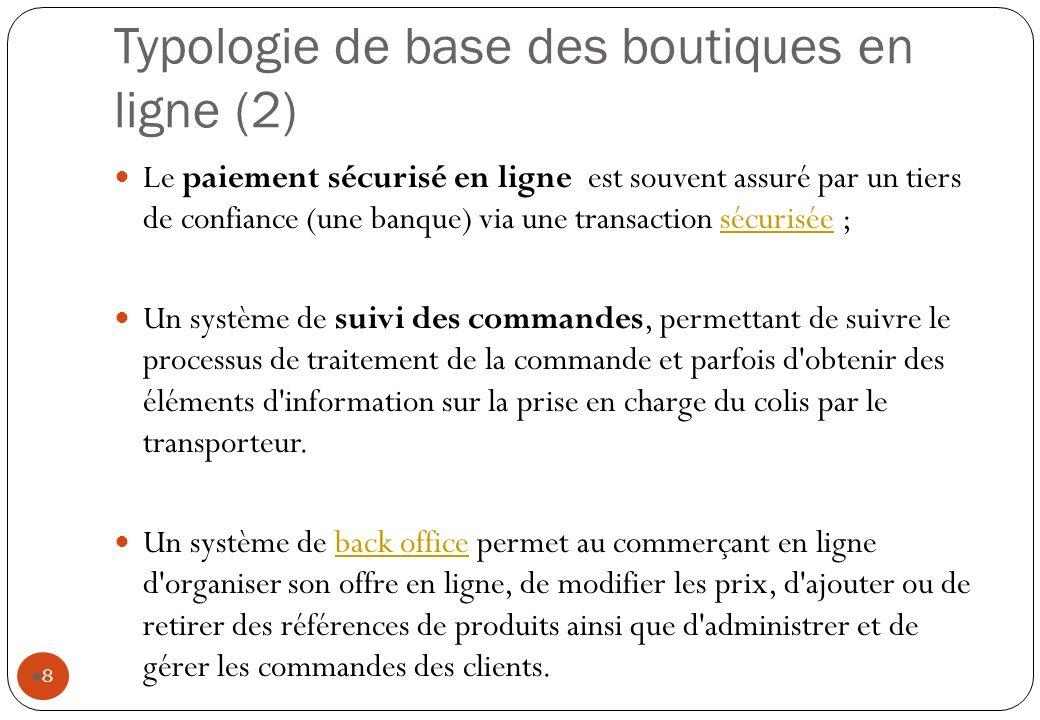 Typologie de base des boutiques en ligne (2) Le paiement sécurisé en ligne est souvent assuré par un tiers de confiance (une banque) via une transacti