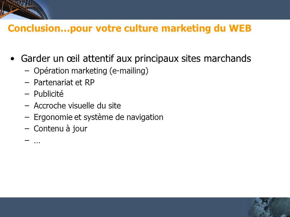 Conclusion…pour votre culture marketing du WEB Garder un œil attentif aux principaux sites marchands –Opération marketing (e-mailing) –Partenariat et RP –Publicité –Accroche visuelle du site –Ergonomie et système de navigation –Contenu à jour –…