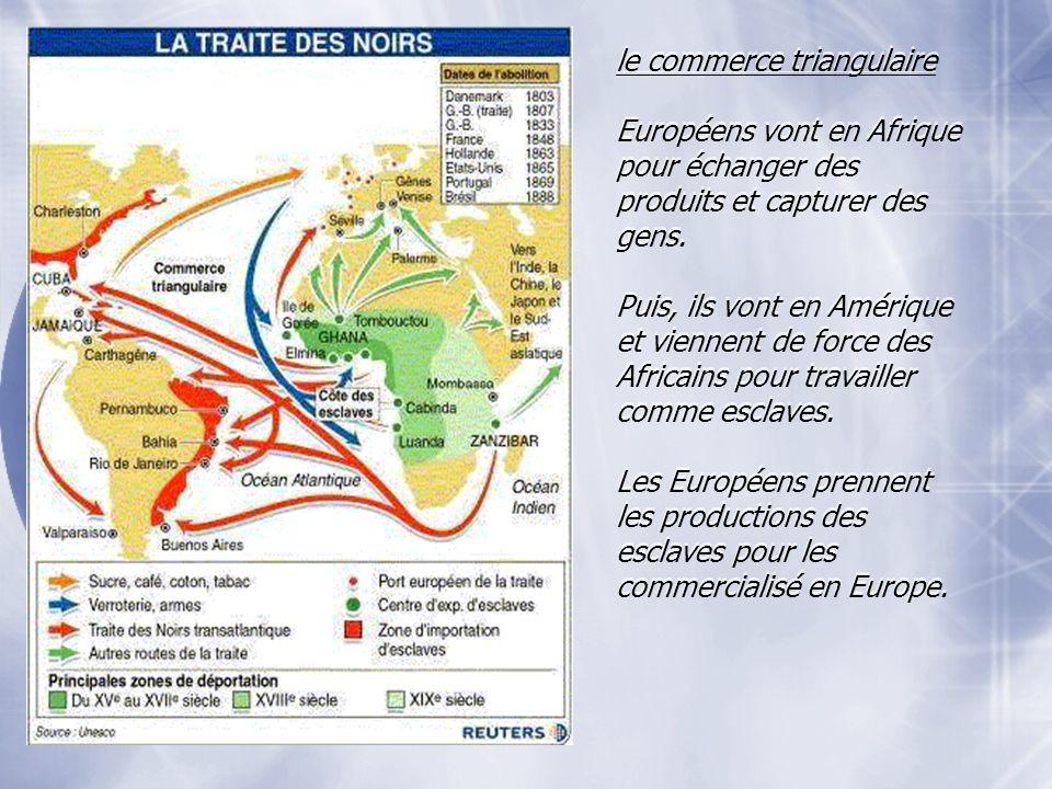 le commerce triangulaire Européens vont en Afrique pour échanger des produits et capturer des gens. Puis, ils vont en Amérique et viennent de force de