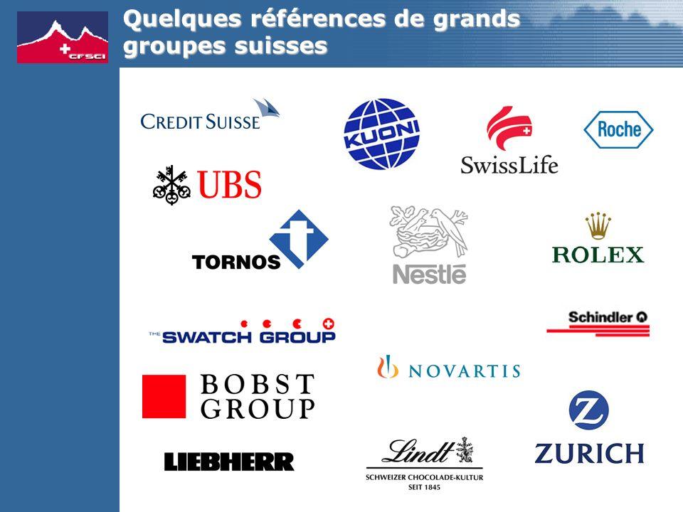 Quelques références de grands groupes suisses