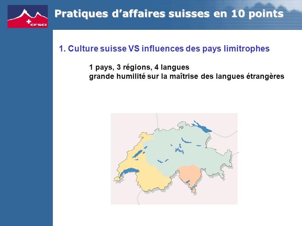 1. Culture suisse VS influences des pays limitrophes 1 pays, 3 régions, 4 langues grande humilité sur la maîtrise des langues étrangères Pratiques daf