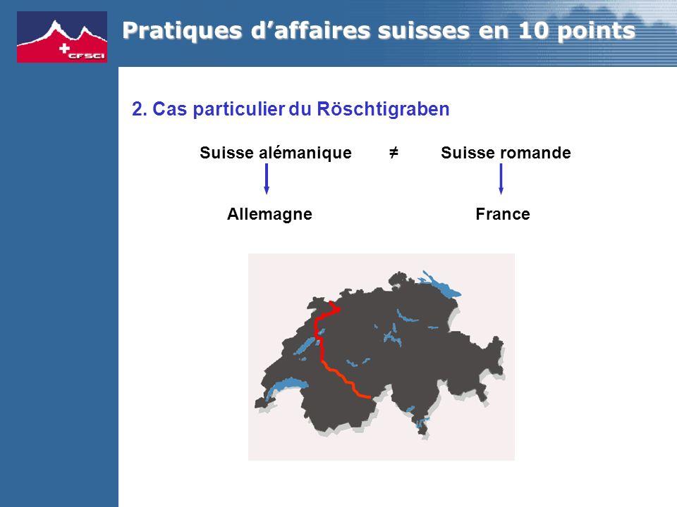 2. Cas particulier du Röschtigraben Suisse alémanique Suisse romande Allemagne France Pratiques daffaires suisses en 10 points