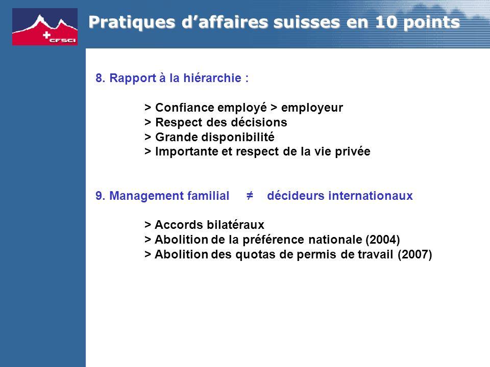 8. Rapport à la hiérarchie : > Confiance employé > employeur > Respect des décisions > Grande disponibilité > Importante et respect de la vie privée 9