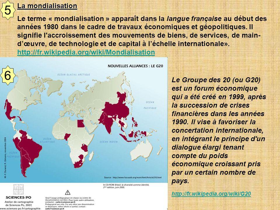 Document de travail Le Groupe des 20 (ou G20) est un forum économique qui a été créé en 1999, après la succession de crises financières dans les année