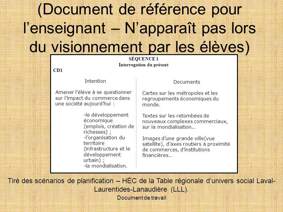 Document de travail Un constat cest… un portrait global de lensemble des documents du dossier documentaire.