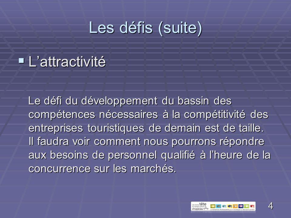Les défis (suite) Le renouvellement Le renouvellement Il implique de passer dune approche basée sur des généralistes à des ressources aptes à répondre aux besoins de plus en plus spécialisés.