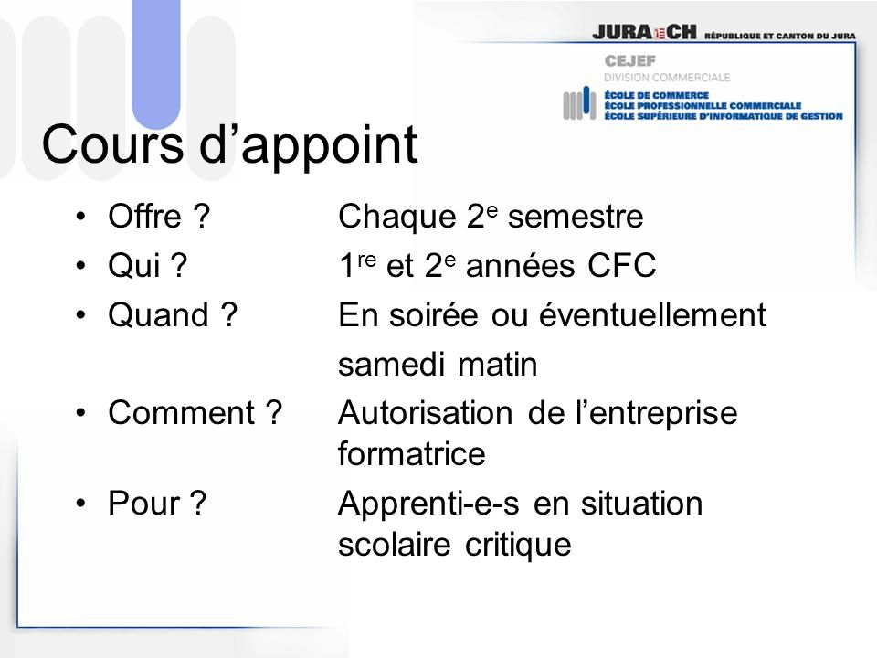 Cours dappoint Offre .