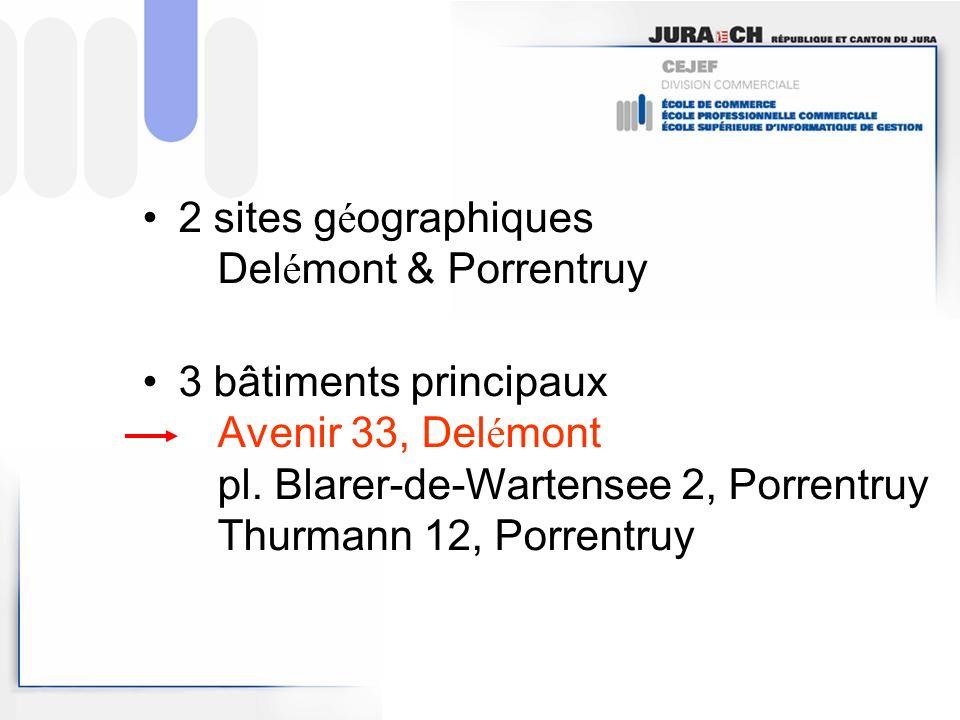 2 sites g é ographiques Del é mont & Porrentruy 3 bâtiments principaux Avenir 33, Del é mont pl.