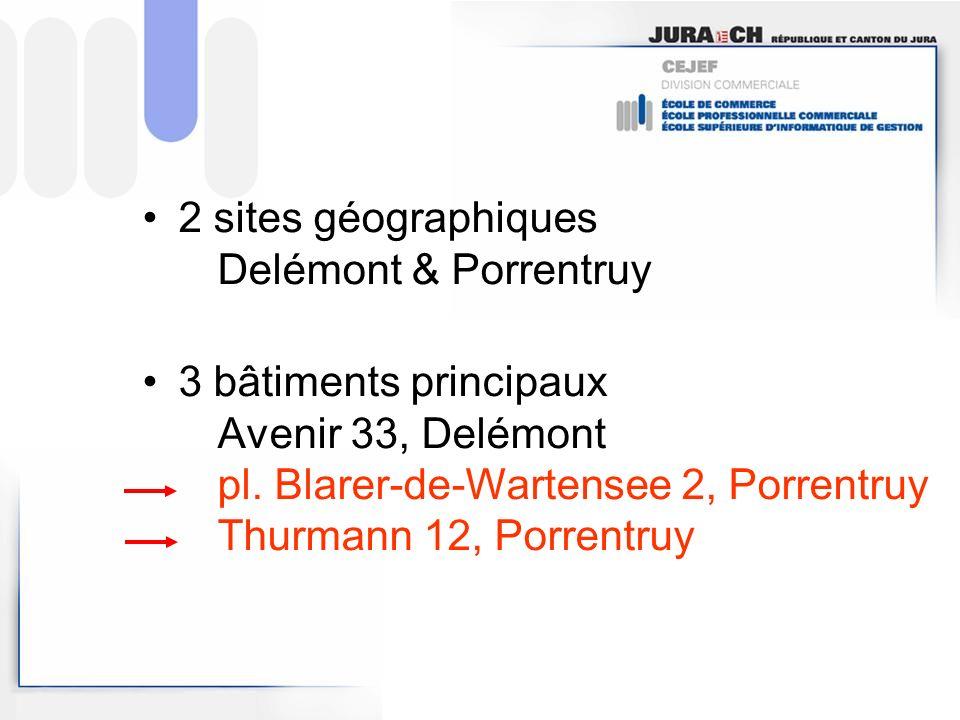 2 sites géographiques Delémont & Porrentruy 3 bâtiments principaux Avenir 33, Delémont pl.