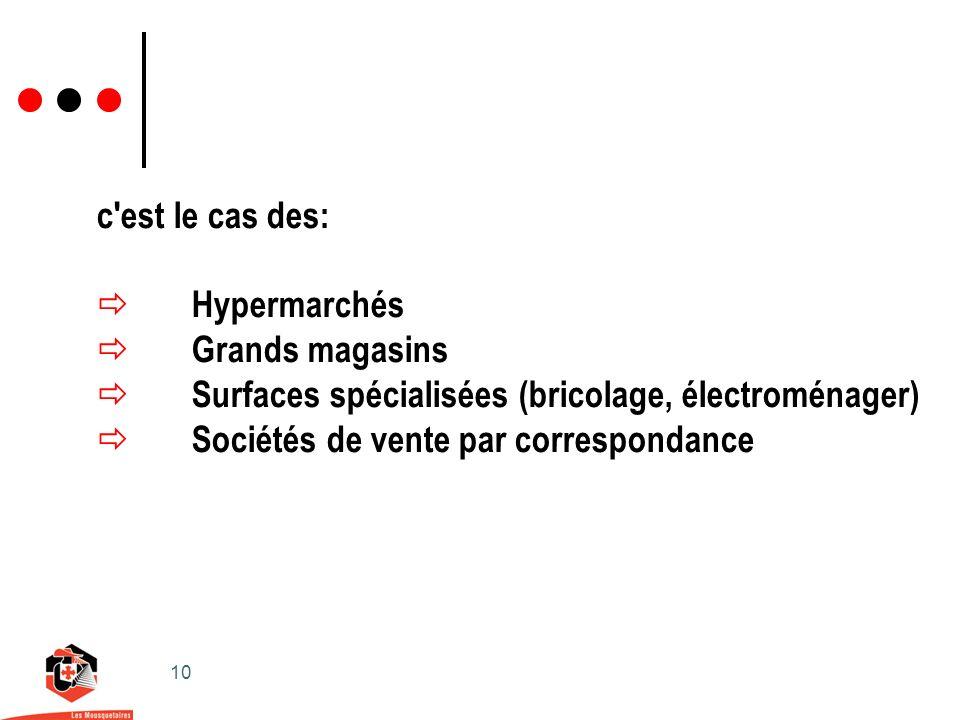 10 c est le cas des: Hypermarchés Grands magasins Surfaces spécialisées (bricolage, électroménager) Sociétés de vente par correspondance