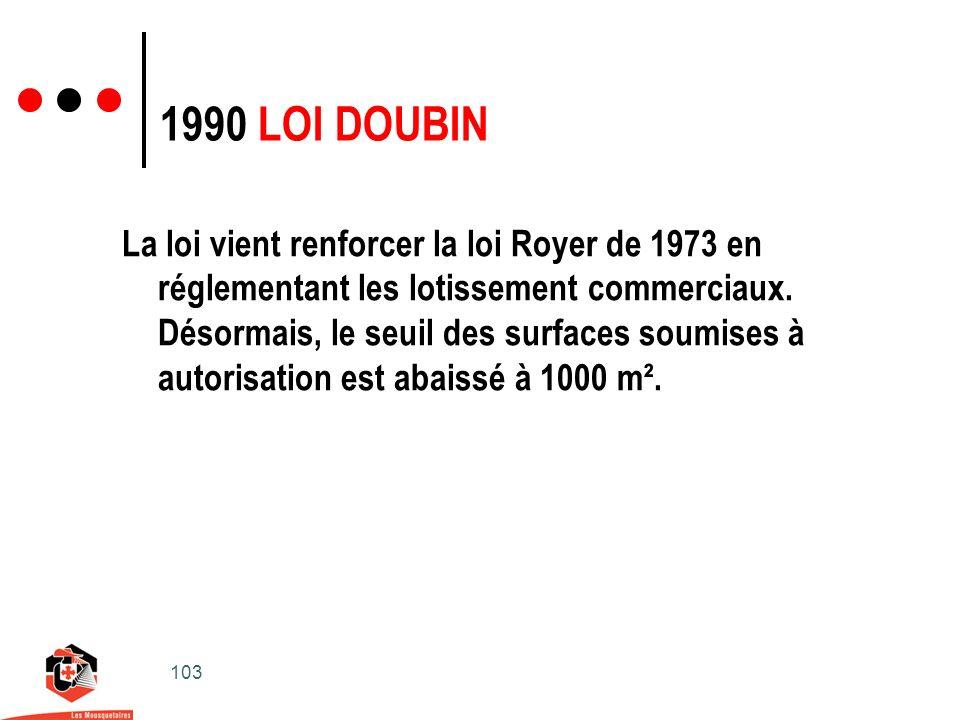 103 1990 LOI DOUBIN La loi vient renforcer la loi Royer de 1973 en réglementant les lotissement commerciaux.