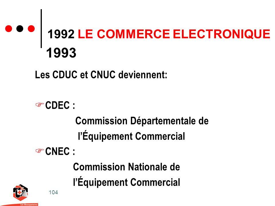 104 1992 LE COMMERCE ELECTRONIQUE 1993 Les CDUC et CNUC deviennent: CDEC : Commission Départementale de lÉquipement Commercial CNEC : Commission Nationale de lÉquipement Commercial