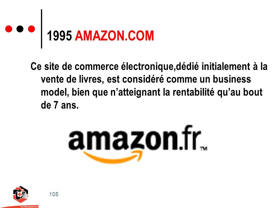 105 1995 AMAZON.COM Ce site de commerce électronique,dédié initialement à la vente de livres, est considéré comme un business model, bien que natteignant la rentabilité quau bout de 7 ans.