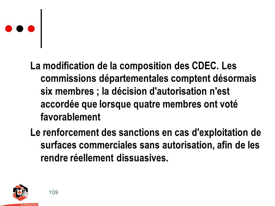 109 La modification de la composition des CDEC.