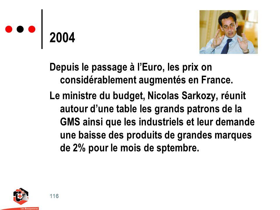 116 2004 Depuis le passage à lEuro, les prix on considérablement augmentés en France.