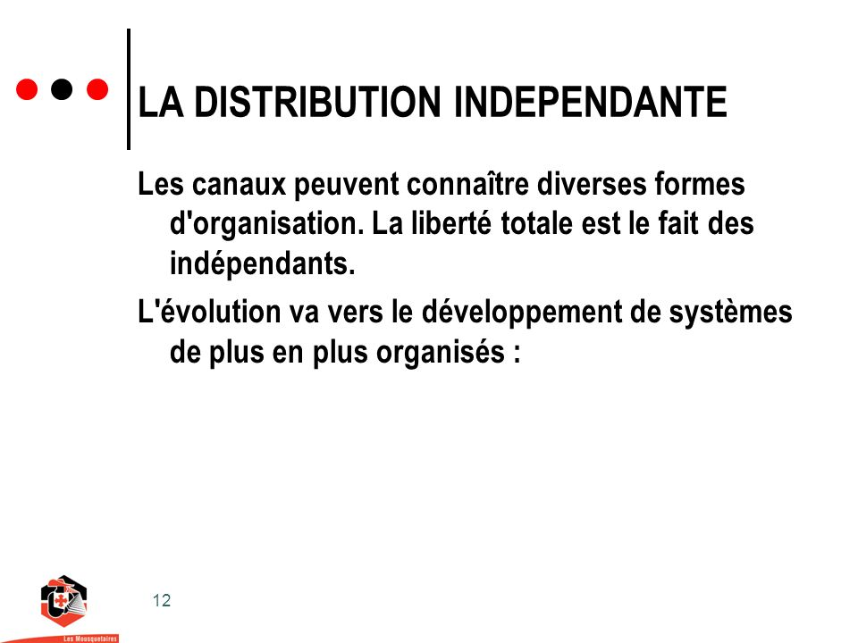 12 LA DISTRIBUTION INDEPENDANTE Les canaux peuvent connaître diverses formes d organisation.