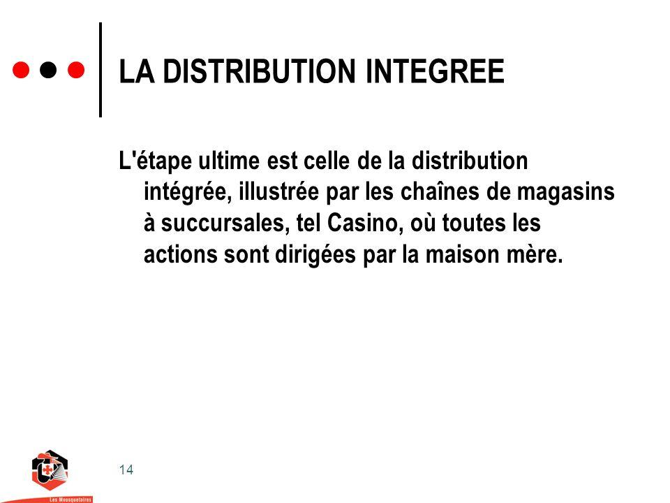 14 LA DISTRIBUTION INTEGREE L étape ultime est celle de la distribution intégrée, illustrée par les chaînes de magasins à succursales, tel Casino, où toutes les actions sont dirigées par la maison mère.