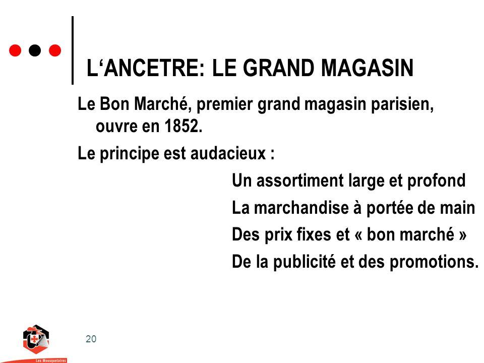 20 LANCETRE: LE GRAND MAGASIN Le Bon Marché, premier grand magasin parisien, ouvre en 1852.
