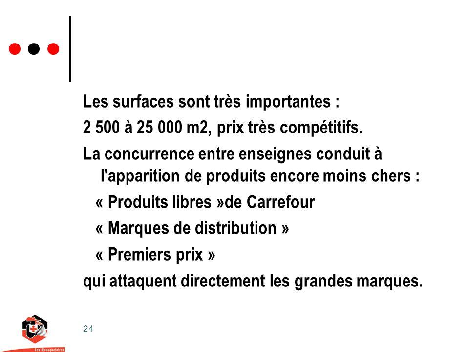 24 Les surfaces sont très importantes : 2 500 à 25 000 m2, prix très compétitifs.