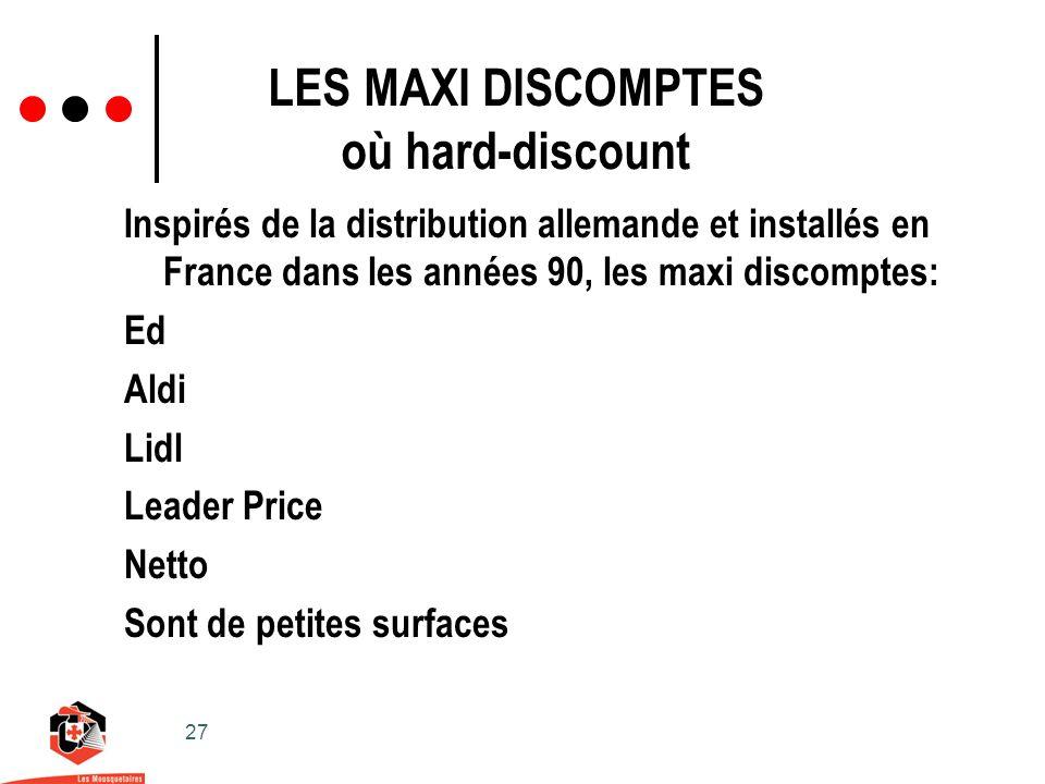 27 LES MAXI DISCOMPTES où hard-discount Inspirés de la distribution allemande et installés en France dans les années 90, les maxi discomptes: Ed Aldi Lidl Leader Price Netto Sont de petites surfaces