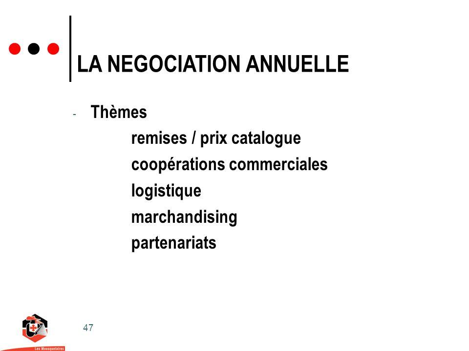47 LA NEGOCIATION ANNUELLE - Thèmes remises / prix catalogue coopérations commerciales logistique marchandising partenariats