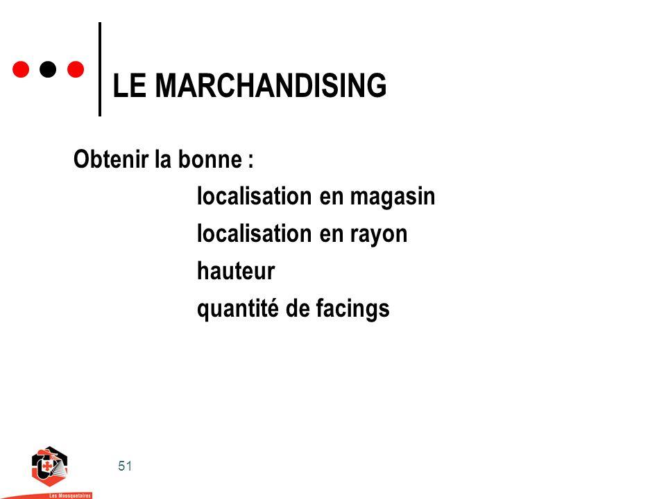 51 LE MARCHANDISING Obtenir la bonne : localisation en magasin localisation en rayon hauteur quantité de facings