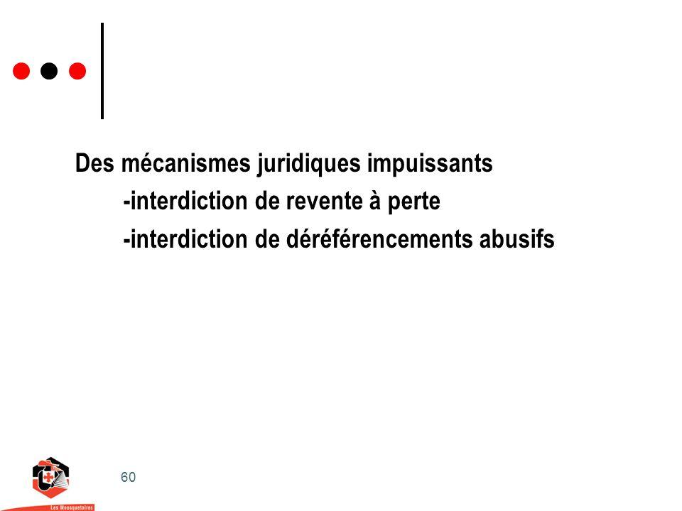 60 Des mécanismes juridiques impuissants -interdiction de revente à perte -interdiction de déréférencements abusifs