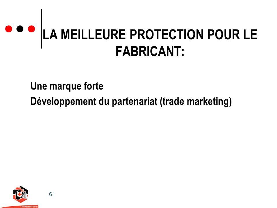 61 LA MEILLEURE PROTECTION POUR LE FABRICANT: Une marque forte Développement du partenariat (trade marketing)