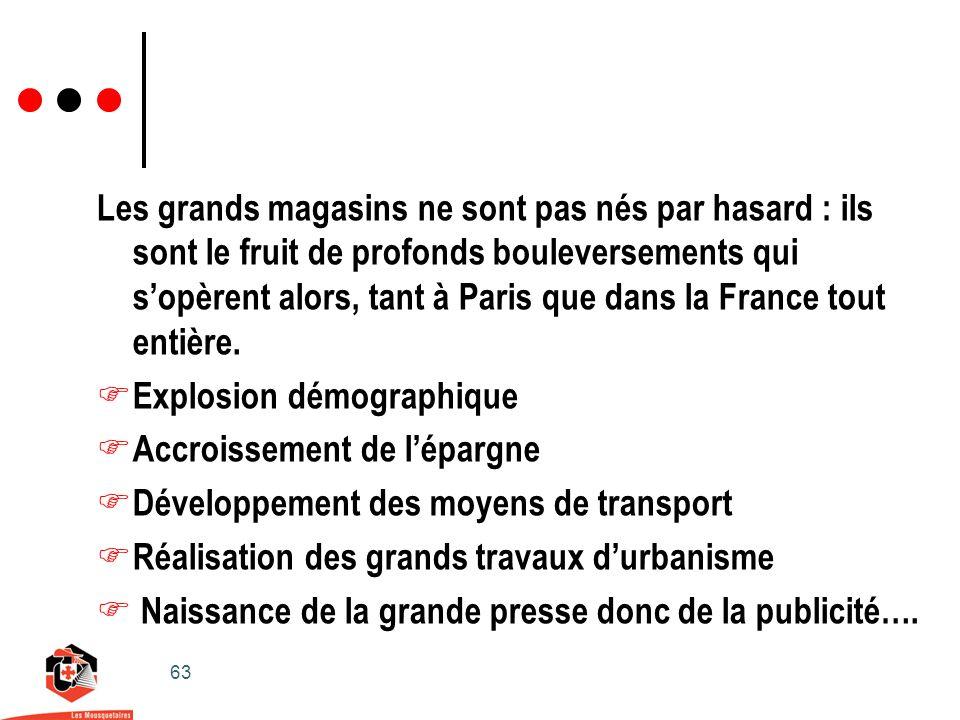 63 Les grands magasins ne sont pas nés par hasard : ils sont le fruit de profonds bouleversements qui sopèrent alors, tant à Paris que dans la France tout entière.